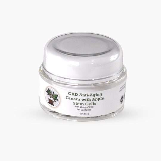 container of cbd anti aging cream with apple stem cells