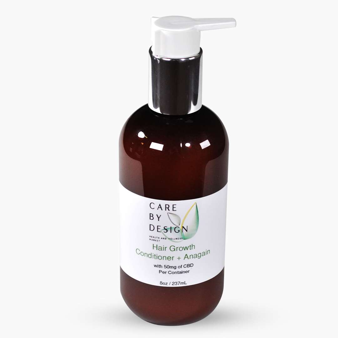 pump bottle of cdb hair growth conditioner with anagain