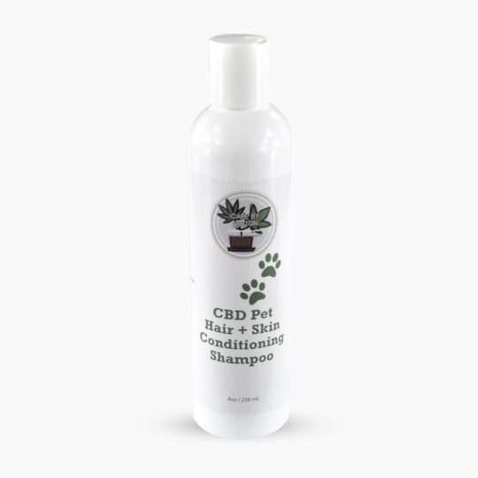 container of cbd pet hair shampoo